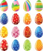 Set of vector colored Easter eggs