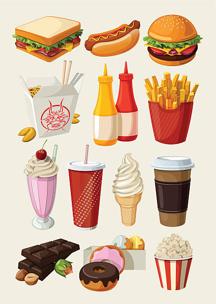 Set of colorful cartoon fast food icons. Set of colorful cartoon fast food icons. Isolated vector. french fries stock illustrations