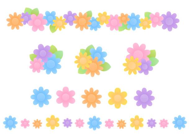 カラフルな花のアイコンとラインのセット ベクターアートイラスト