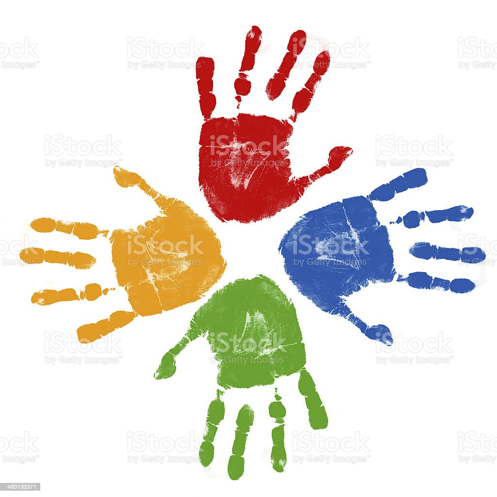 Set of colorful hand prints vector art illustration