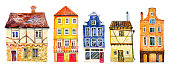 Set of colorful old stone Europe houses. Hand drawn cartoon watercolor illustration