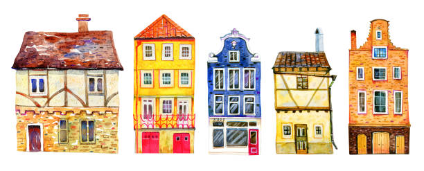 Set of colorful old stone Europe houses. Hand drawn cartoon watercolor illustration Set of colorful old stone Europe houses. Hand drawn cartoon watercolor illustration. Portuguese, Dutch, Czech, English buildings on white background cottage stock illustrations