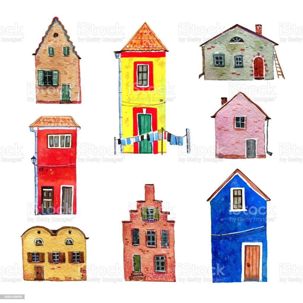 ilustração de conjunto de coloridas casas antigas de pedra europeus