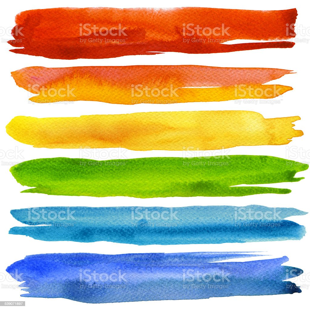 Set of colorful watercolor brush strokes. vector art illustration