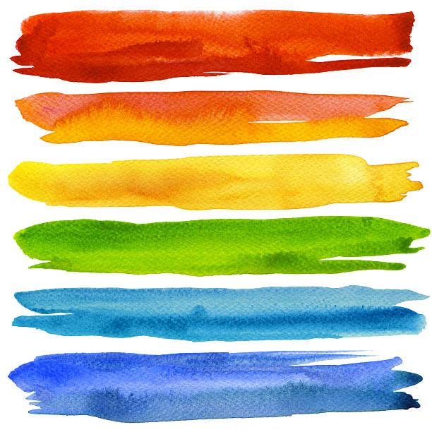 セットのカラフルな水彩画の筆のます。 - ブラシ点のイラスト素材/クリップアート素材/マンガ素材/アイコン素材