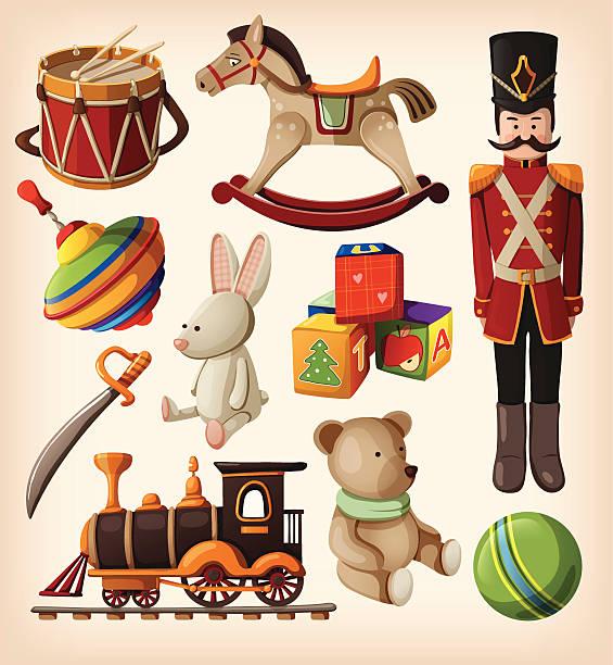 reihe von bunten vintage weihnachten spielzeug für kinder. - kinderspielzeug stock-grafiken, -clipart, -cartoons und -symbole