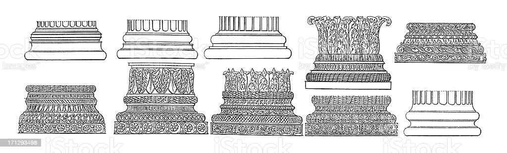 Set of Column Bases | Antique Architectural Illustrations royalty-free stock vector art