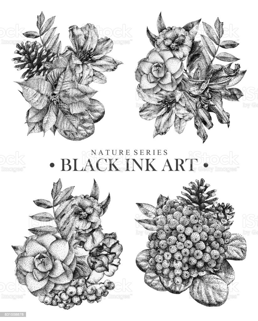 Set Of Compositions With Dotted Flowers Birds And Plants Drawn By