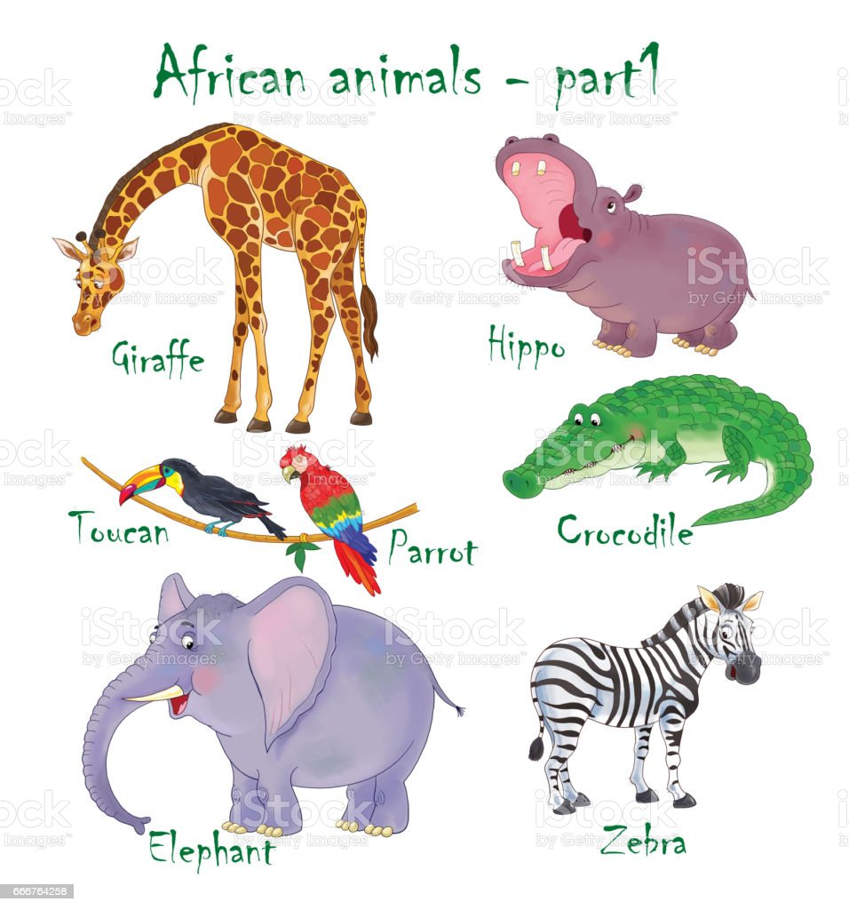 Set Of Cute African Animals Coloring Page Funny Cartoon Characters Illustration For Children