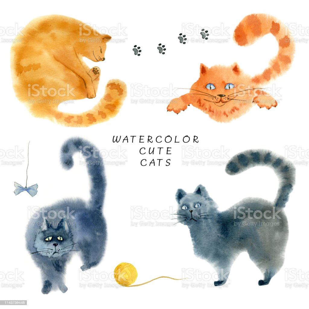 Set of cute cats on white background. Hand drawn watercolor...
