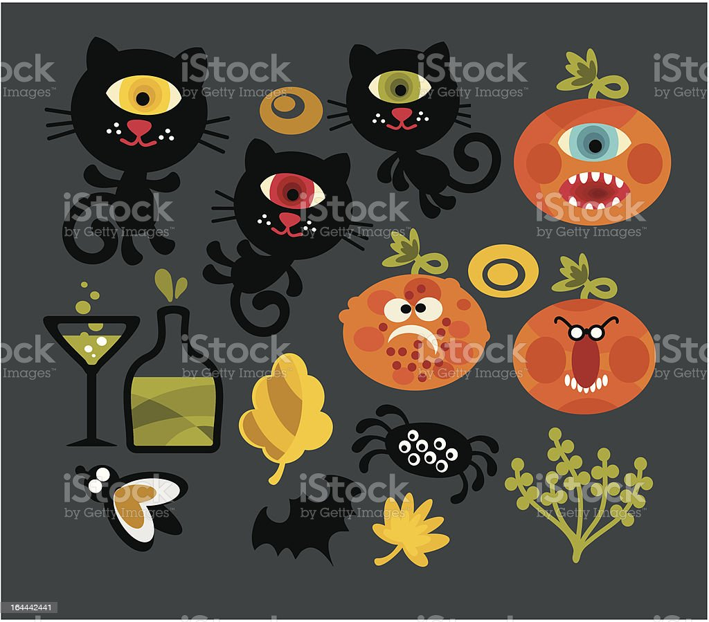Set of cute monsters for Halloween. royalty-free stock vector art