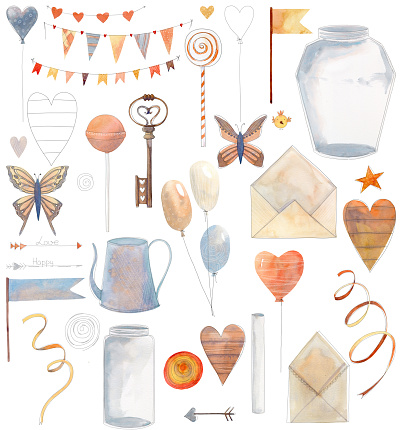 Set of cute watercolor elements with key, watering can, flags, butterfly, hearts, jars and banners.