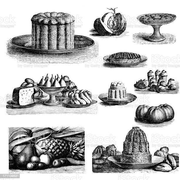 Conjunto De Sobremesa Ilustraçõesvintage Comida E Cozinha Clipart - Arte vetorial de stock e mais imagens de Antiguidade
