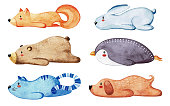Set of different cute animals. Lazy animals. Watercolor