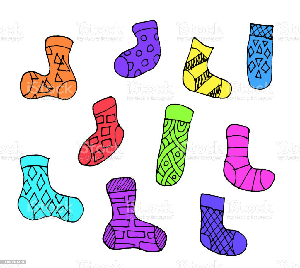 Set Von Verschiedenen Doodle Umriss Socken Isoliert Auf