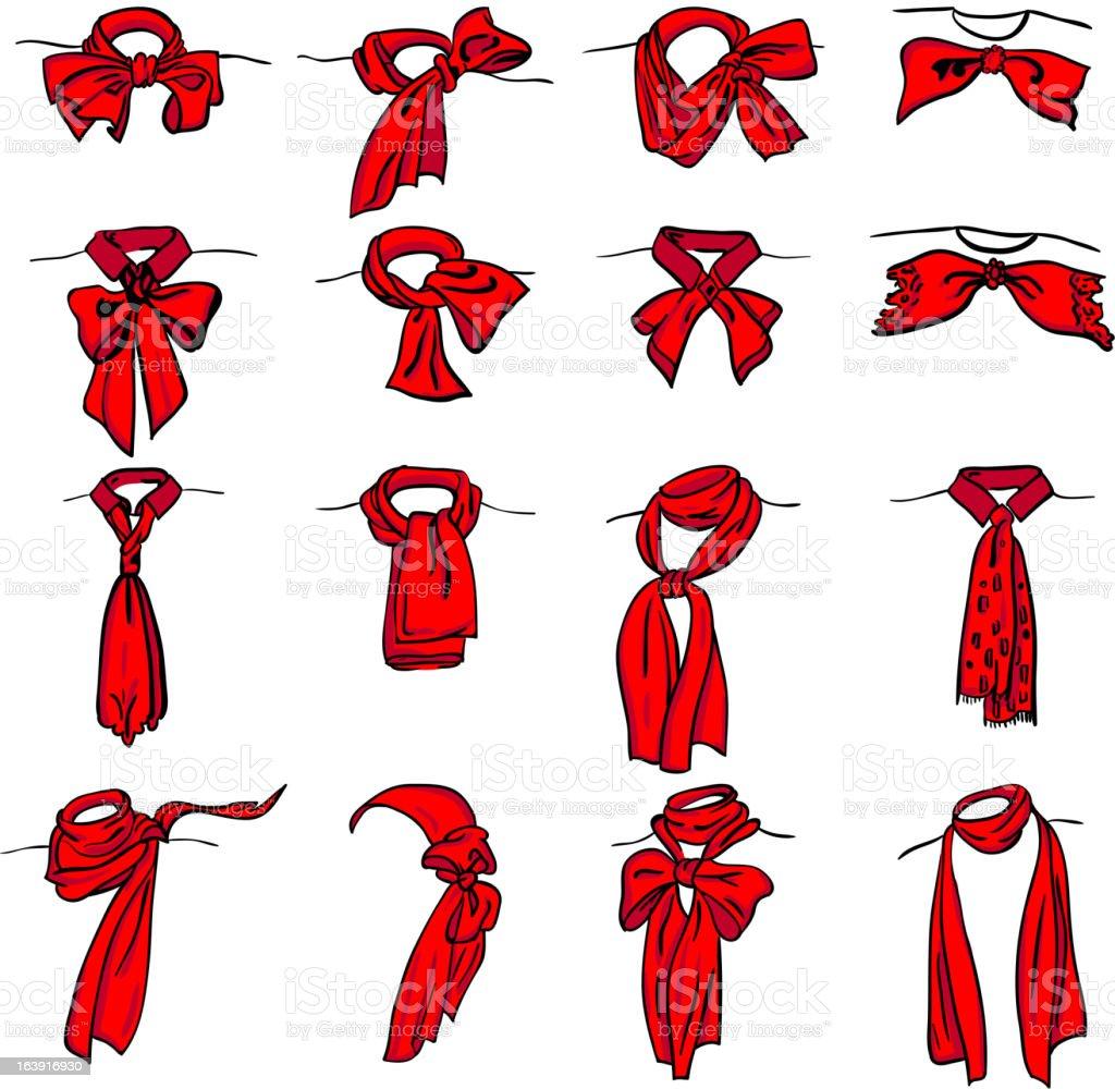 set of different neckerchiefs tied vector art illustration