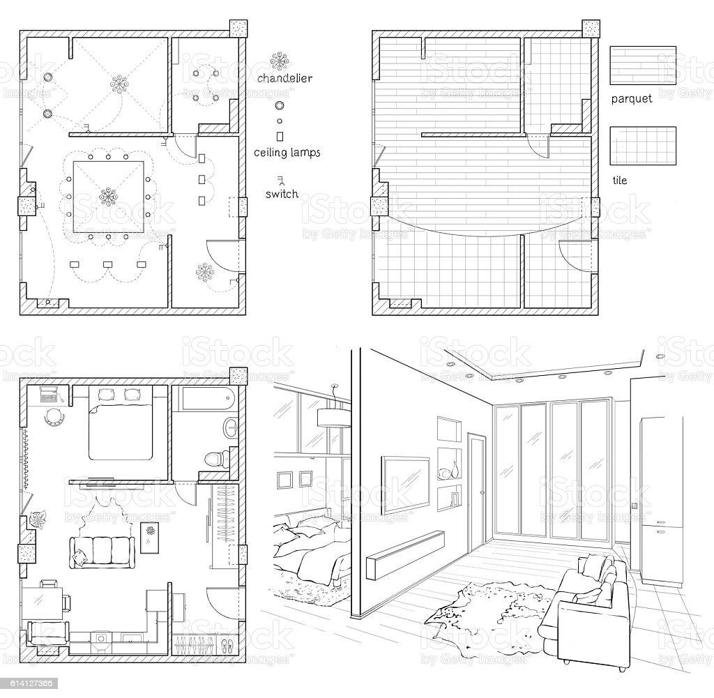 Blueprint Interior Design Set set of drawings interior design stock vector art 614127366 | istock