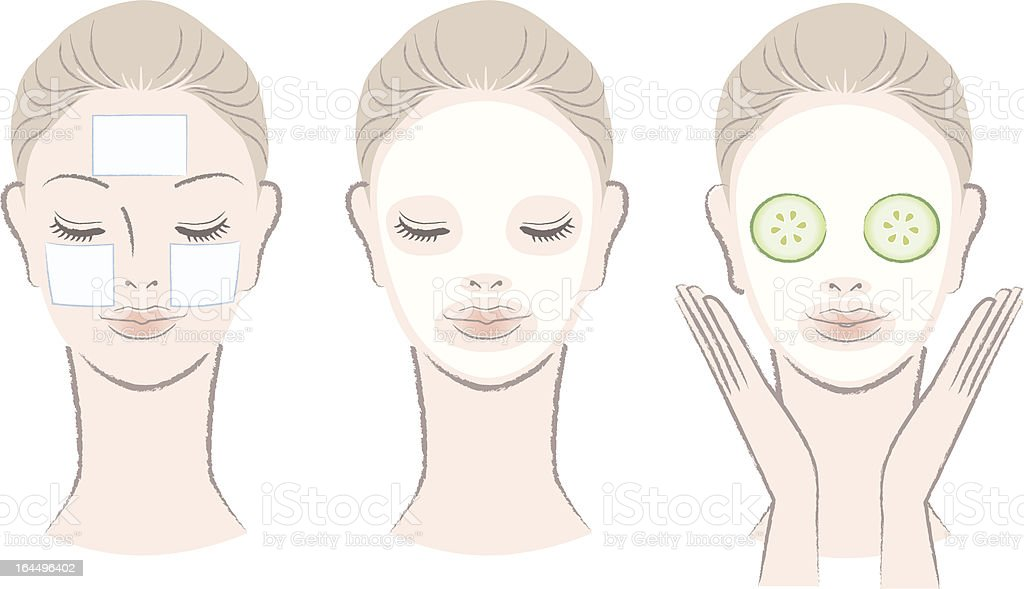 Set of elegant, beautiful woman with face mask vector art illustration