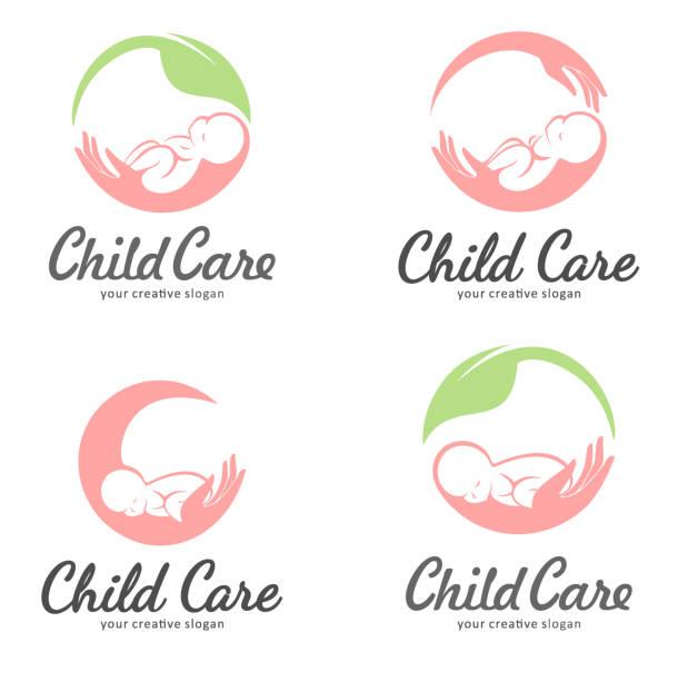 illustrations, cliparts, dessins animés et icônes de ensemble d'emblème pour la garde d'enfants, de la maternité et de grossesse - femme seule s'enlacer