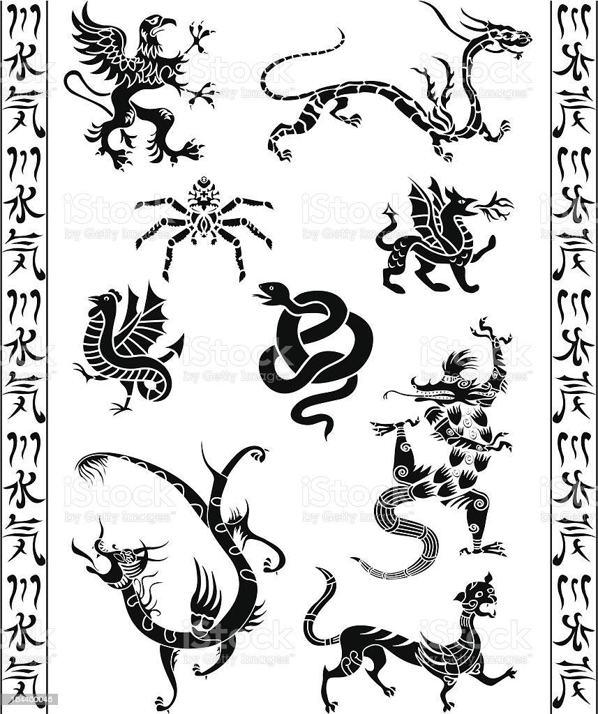 Set of fantasy animals royalty-free stock vector art