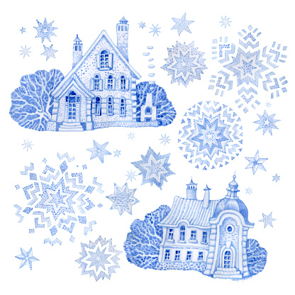 Set of fantasy buildings with Christmas star and snowflakes. Hand painted blue watercolor fairy tale old town houses isolated on a white background. Winter landscape tee-shirt print., greeting or invitation card