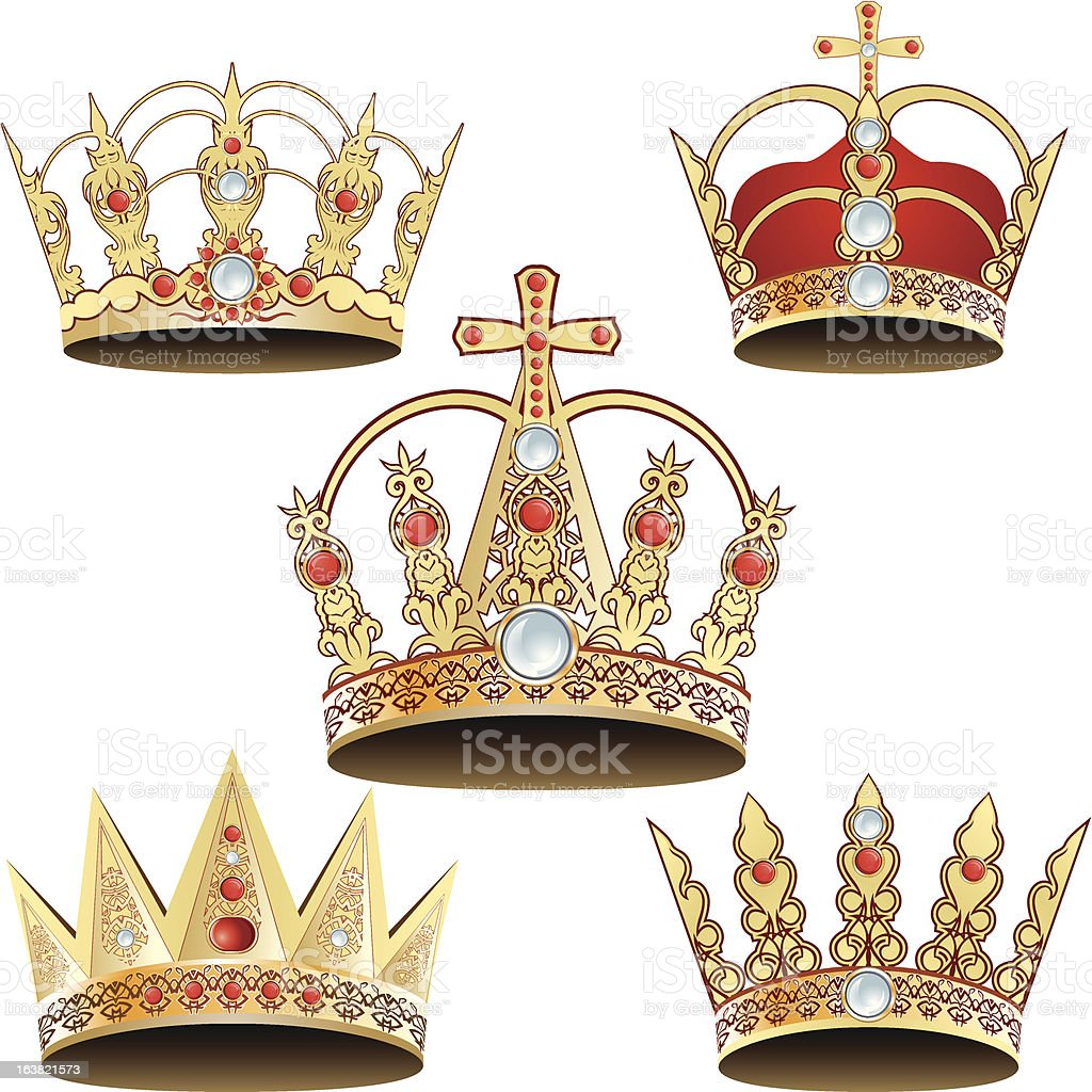 Set of five royal jeweled crowns. royalty-free stock vector art