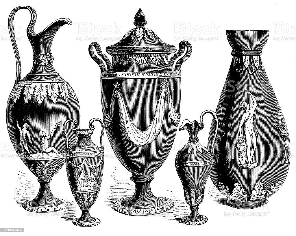 Set of Five Vases I Antique Design Illustrations vector art illustration