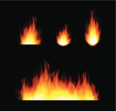 A set of flames. Eps 10 with transparencies.