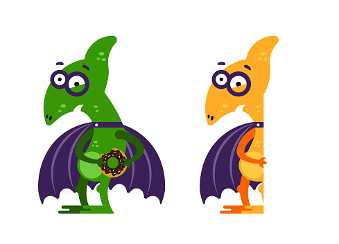 Set of flat cartoon characters/ Funny pterodactyl for children