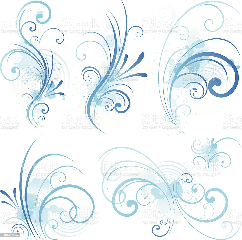 Set of floral elements for design vector art illustration