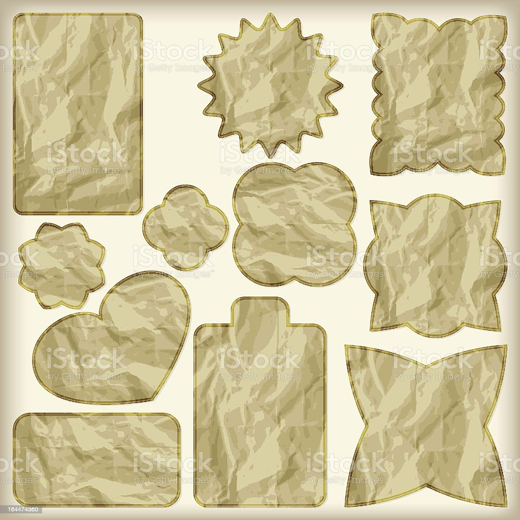 set of foil cut golden shiny vintage tags royalty-free stock vector art