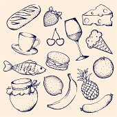 Hand-drawn set of food and drinks