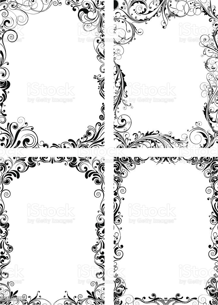 Conjunto De Cuatro Marco De Flores Illustracion Libre de Derechos ...