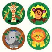 set of four jungle theme animals