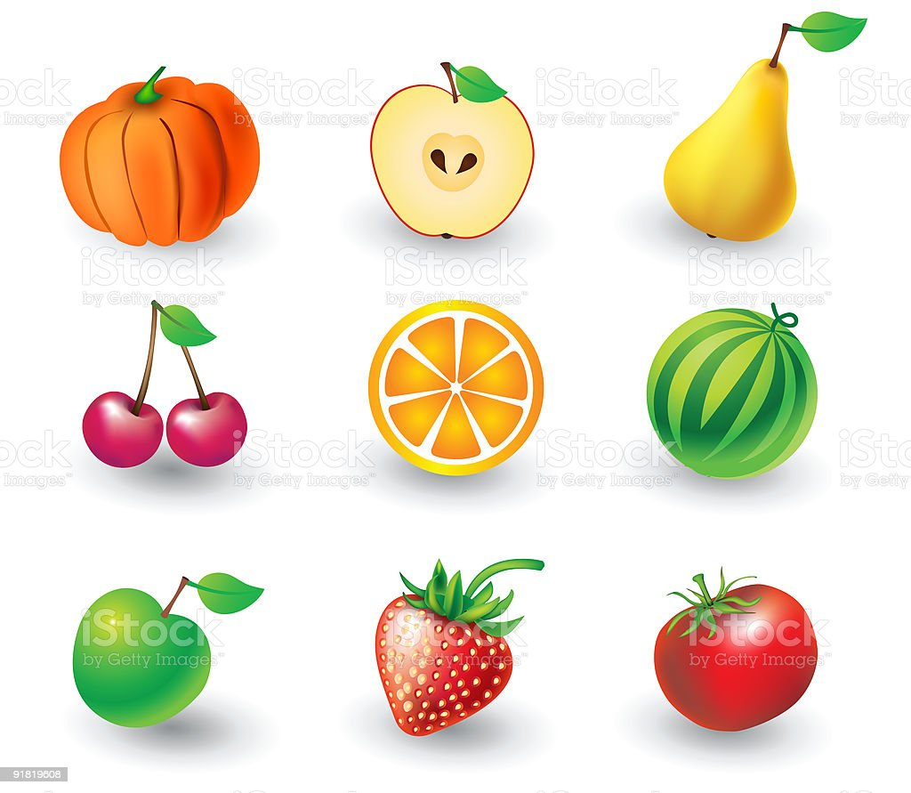 Set of fruit objects royalty-free stock vector art