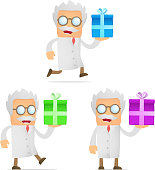 """""""set of funny cartoon scientist in various poses for use in presentations, etc."""""""
