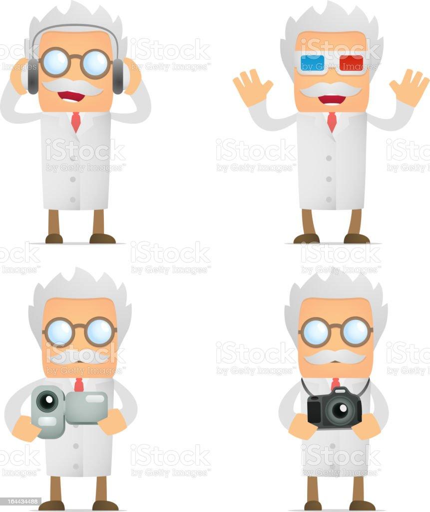 set of funny cartoon scientist vector art illustration