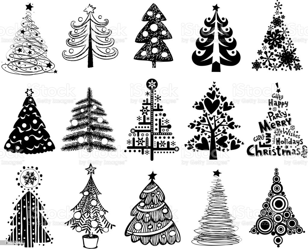 Set of funny christmas trees stock vector art more for Cute christmas tree drawing