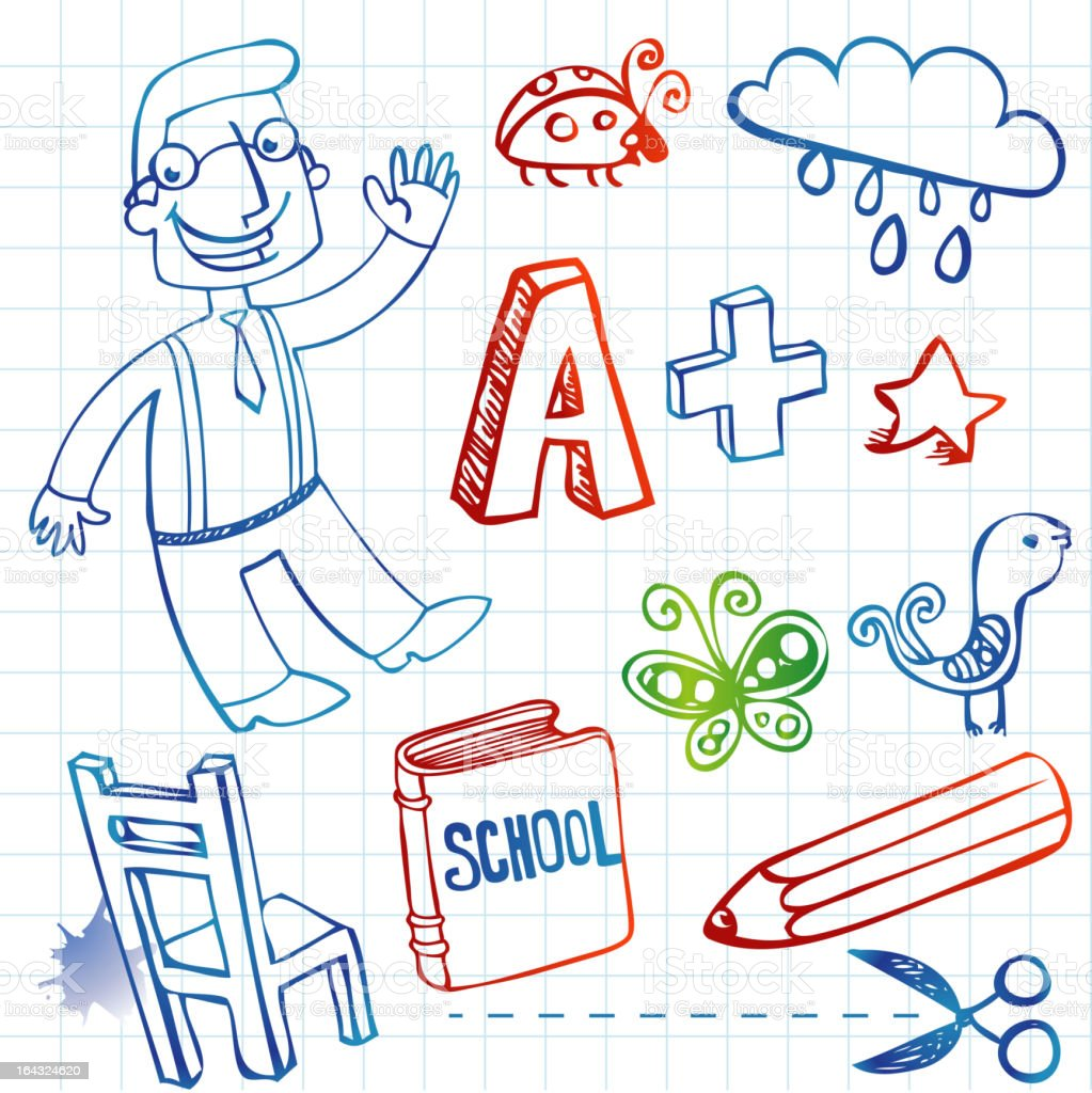 Set of funny school doodles royalty-free set of funny school doodles stock vector art & more images of backgrounds