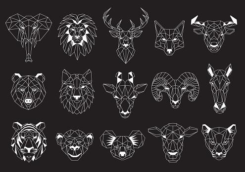 Set of Geometric abstract animals. White animals on black background. Trendy mono line vector design