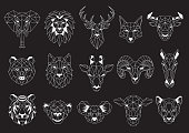 istock Set of Geometric abstract animals. White animals on black background. Trendy mono line vector design 1255287123