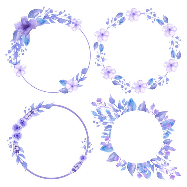 Set of gray wreaths and frames. Floral wreaths for decoration and invitation cards. Handmade Watercolor. Set of gray wreaths and frames. Floral wreaths for decoration and invitation cards. Handmade Watercolor. Provence flowers tender wedding ceremony posters blue silhouettes stock illustrations