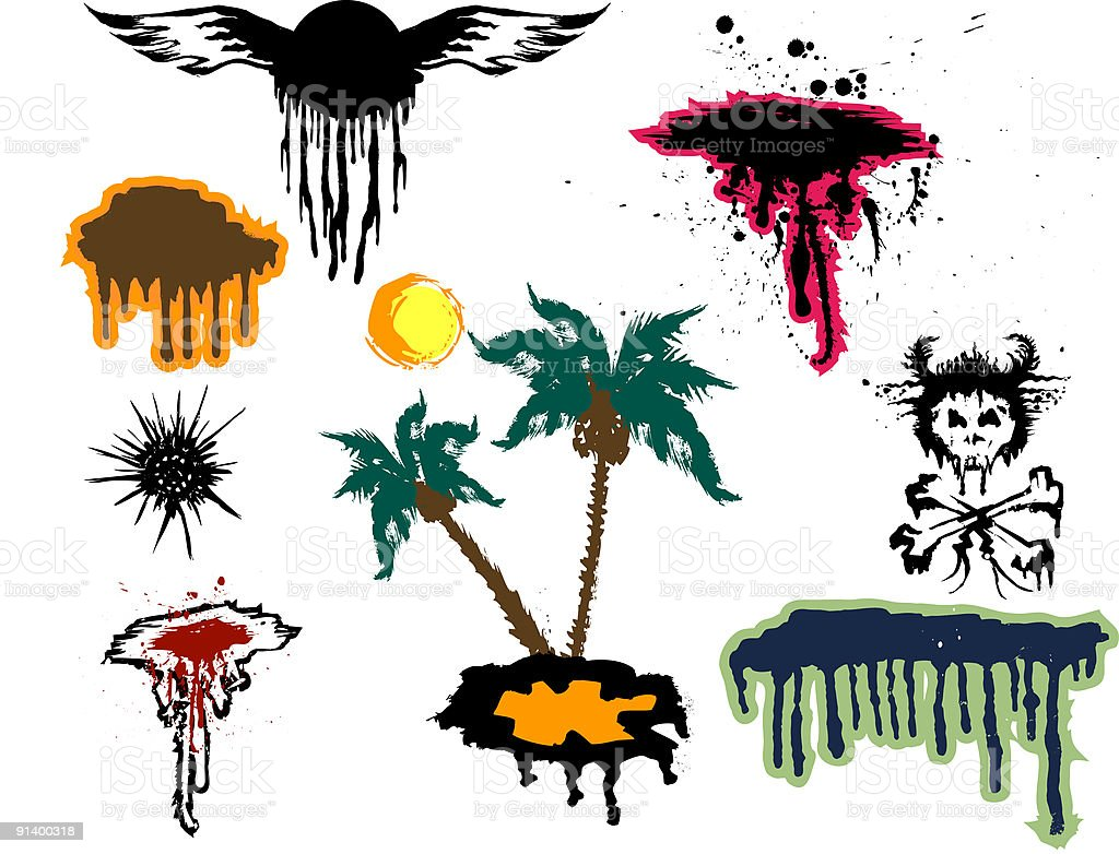 Set of grunge elements royalty-free set of grunge elements stock vector art & more images of allegory painting