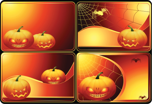 Set Of Halloween Cards Stock Illustration - Download Image Now