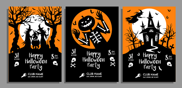 set of Halloween party posters in black and orange colors. Vector design template of Invitations, flyer afiche