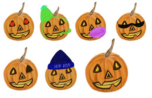 Halloween Pumpkin Accessories.Set Of Halloween Pumpkins With Cute Faces And Accessories Halloween Concept Utensil Stationery Mug Passport Design And Print Jackolantern Set Stock Illustration Download Image Now Istock