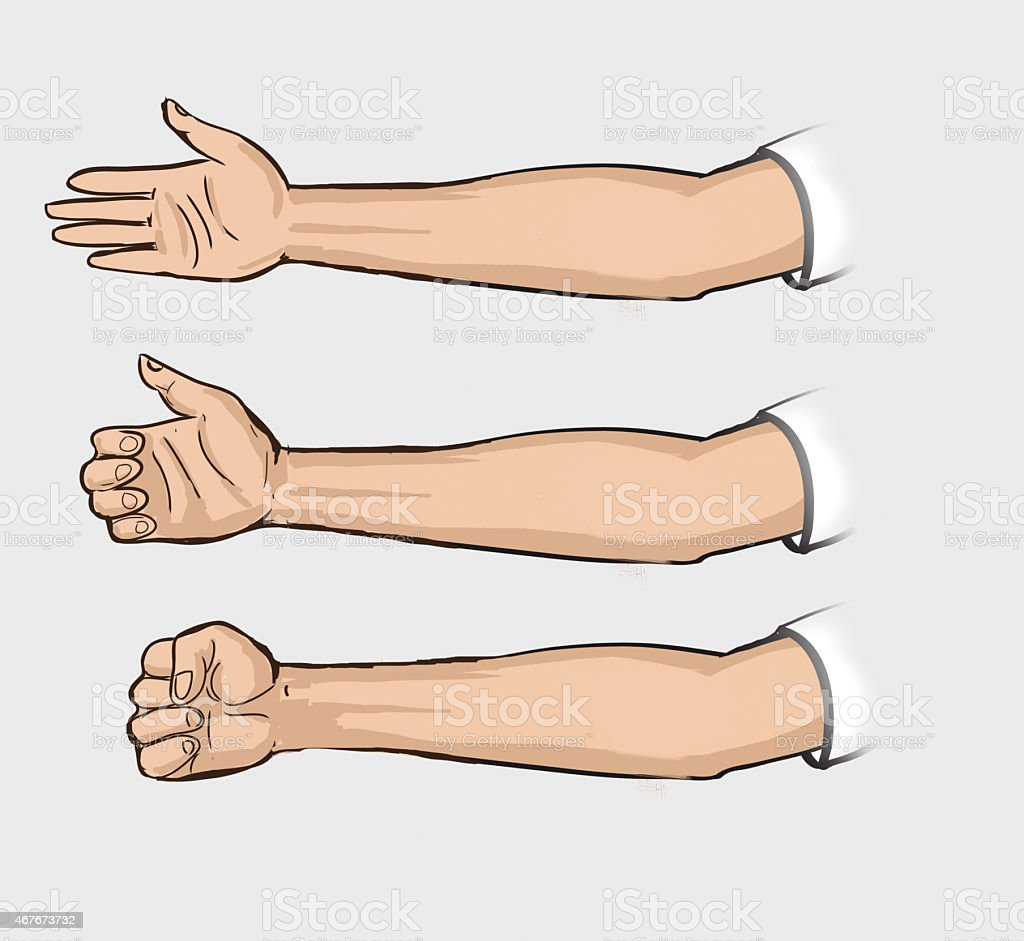 set of hand painted man.From the shoulder to the wrist. vector art illustration