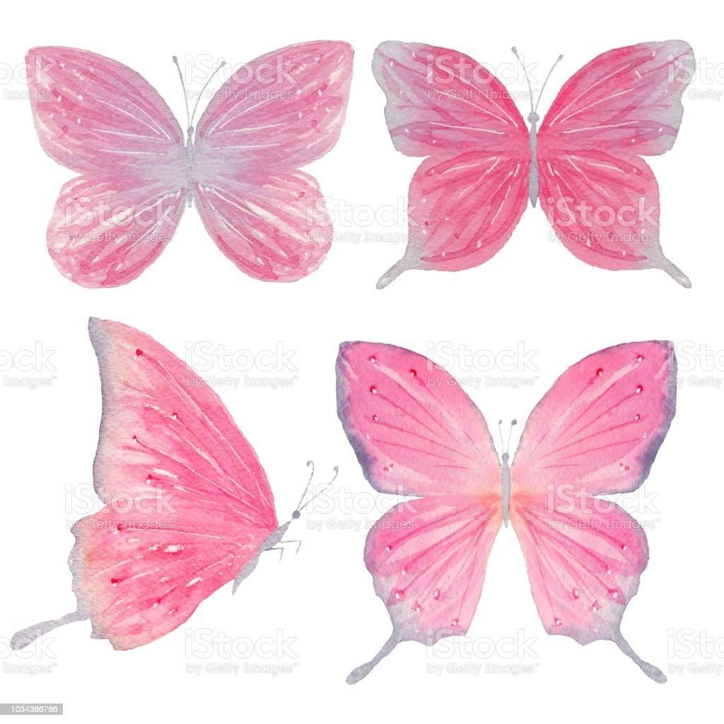 Ilustración De Set De Acuarela Mariposas Pintadas Y Más Vectores