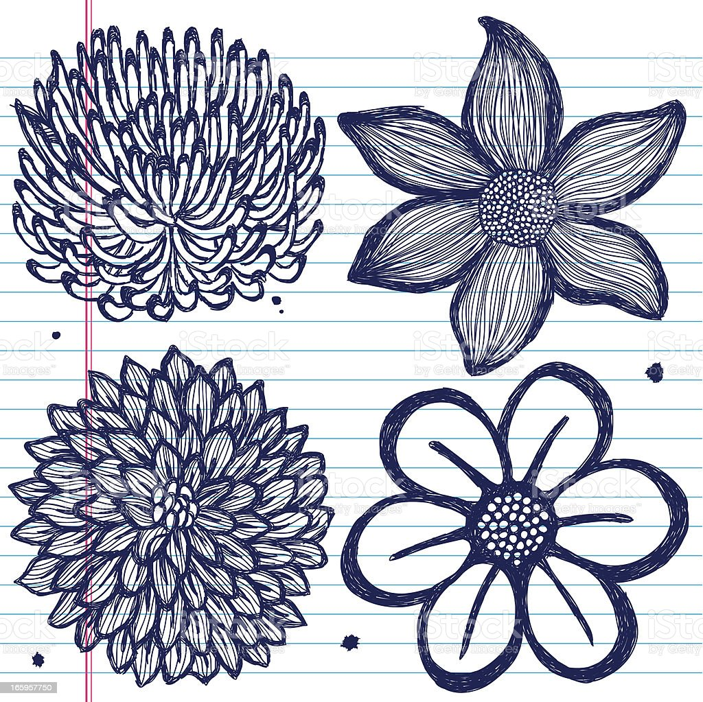 Set Of Handdrawn Flowers On Paper Stock Vector Art More Images Of