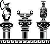 set of hellenic vases and ionic columns